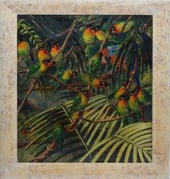 Antique American Impressionist Oil Painting of Tropical Birds by Elizabeth Fulda