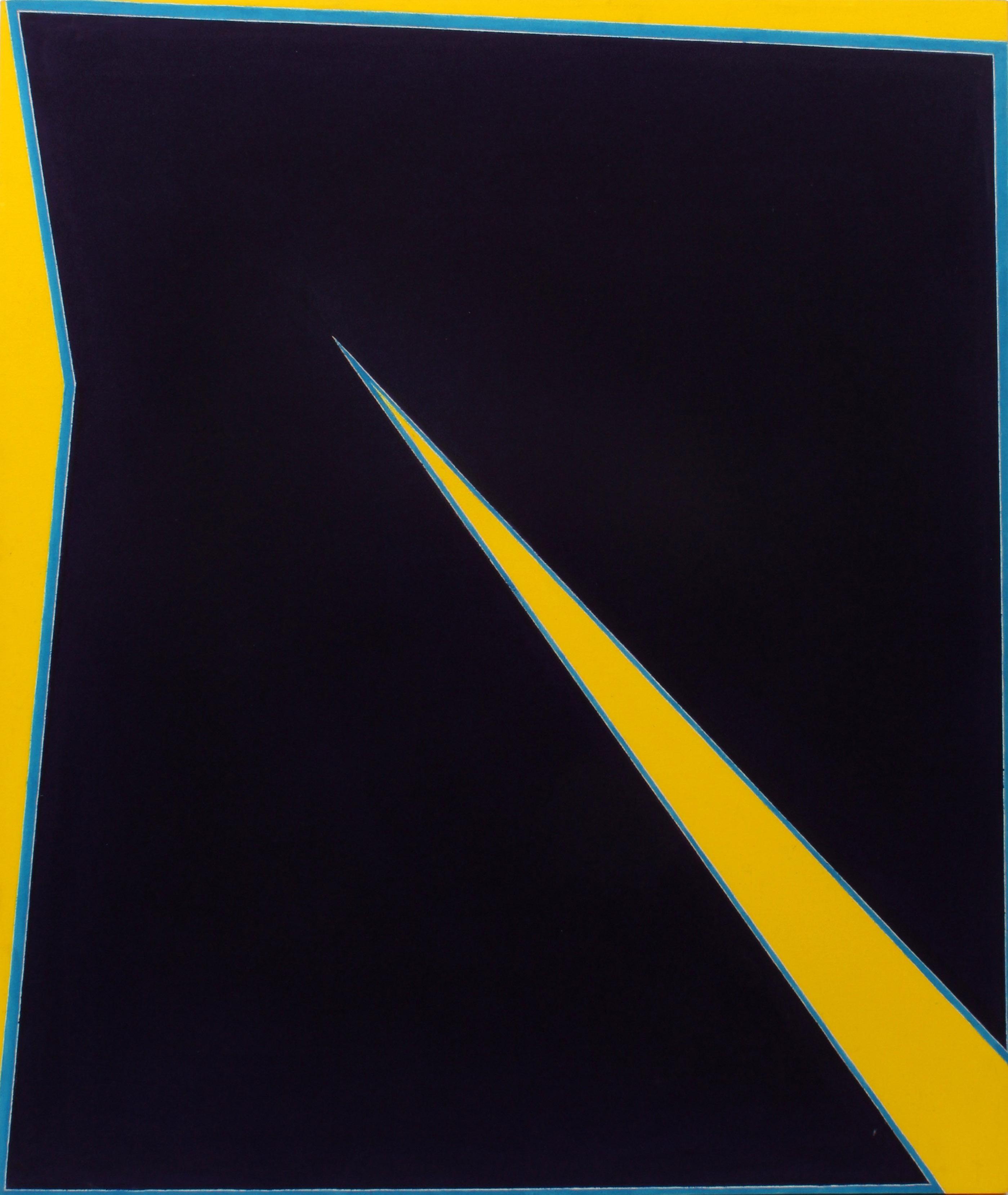 Minimalist Painting New York American Artist Female Blue Black Yellow 1974