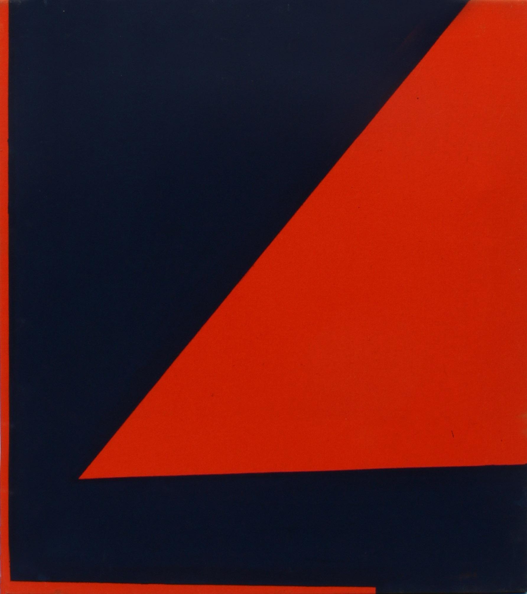Minimalist Painting New York American Artist Female Blue Orange Red 1974