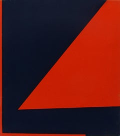 Minimalist Painting New York American Artist Female Blue Orange Red 1974