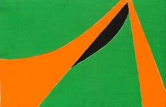 Minimalist Painting New York American Artist Female Orange Green Black 1970