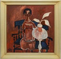 "Vintage Modernist Oil Painting ""Portrait of a Woman & Flowers"" by Nicholas Takis"