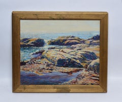 Antique Impressionist Oil Painting of A New England Coast by Joseph Hatfield