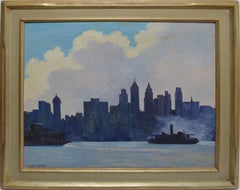 Antique American Modernist Signed Oil Painting of New York Harbor with Boats