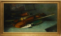 19th Century American Realist Trompe L'oeil Violin Still Life Oil Painting