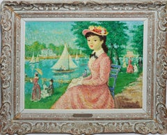 Antique Paris Impressionist Park View with Figures and Boats by Georges Herold