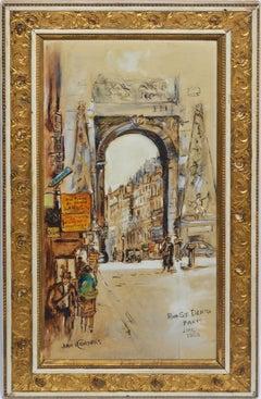 "Antique Paris School Impressionist Cityscape, ""Rue St. Denis"", by Jan Korthals"