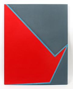 Minimalist Painting New York American Artist Female Blue Red Grey 1974
