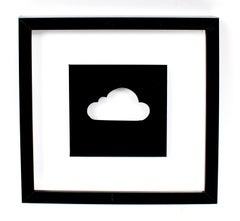 Contemporary Reverse Painting Cloud American Black and White Shadowbox