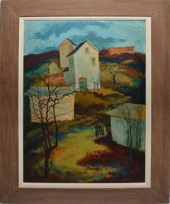 "Modernist American Landscape Oil Painting, ""Winter Sun"" by Einar Lunden"