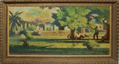 Antique Modernist California Farm Landscape Oil Painting by Harold Miles