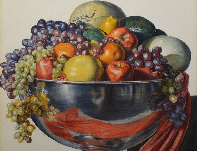 Vintage American Modernist Fruit Still Life Realist Painting by Leo Katz For Sale 6