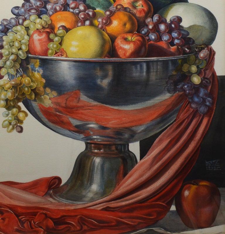 Vintage American Modernist Fruit Still Life Realist Painting by Leo Katz For Sale 4