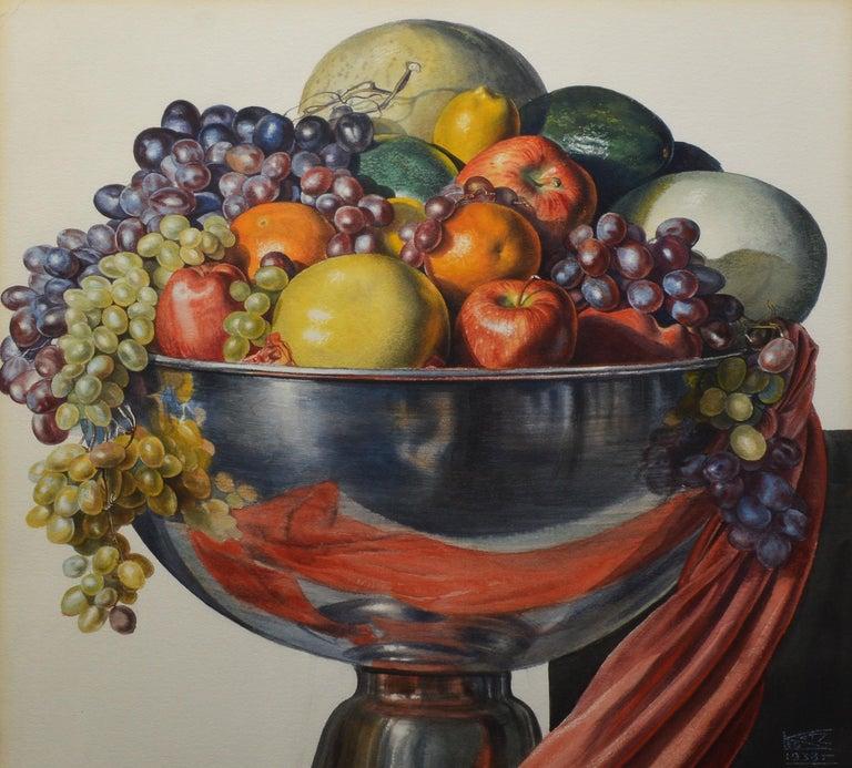 Vintage American Modernist Fruit Still Life Realist Painting by Leo Katz For Sale 5
