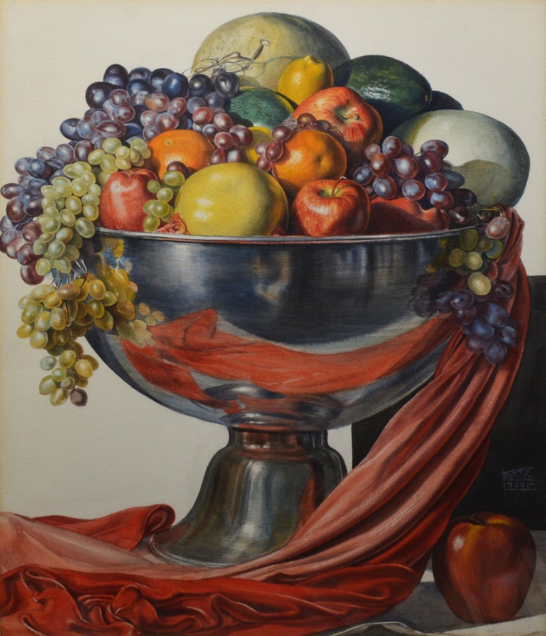 Vintage American Modernist Fruit Still Life Realist Painting by Leo Katz For Sale 3
