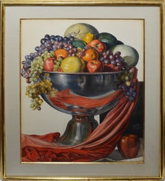 Vintage American Modernist Fruit Still Life Realist Painting by Leo Katz