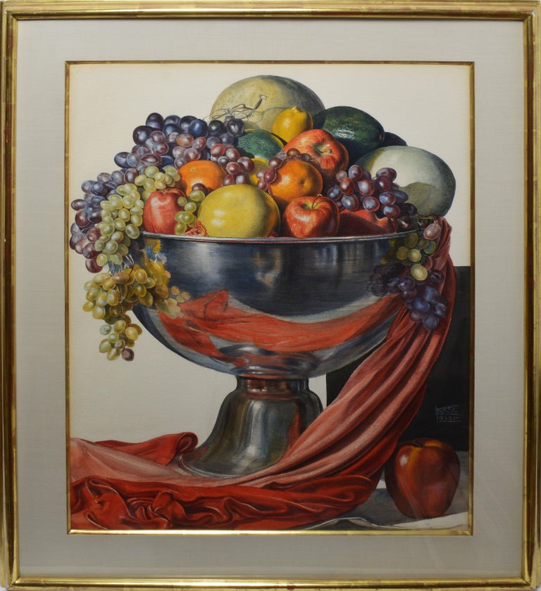 """Vintage American realist still life by Leo Katz  (1887 - 1982).  Watercolor and gouache on board, circa 1938.  Signed .  Displayed in a period modernist giltwood frame.  Image, 22""""L x 30""""H, overall 39""""L x 31""""H."""