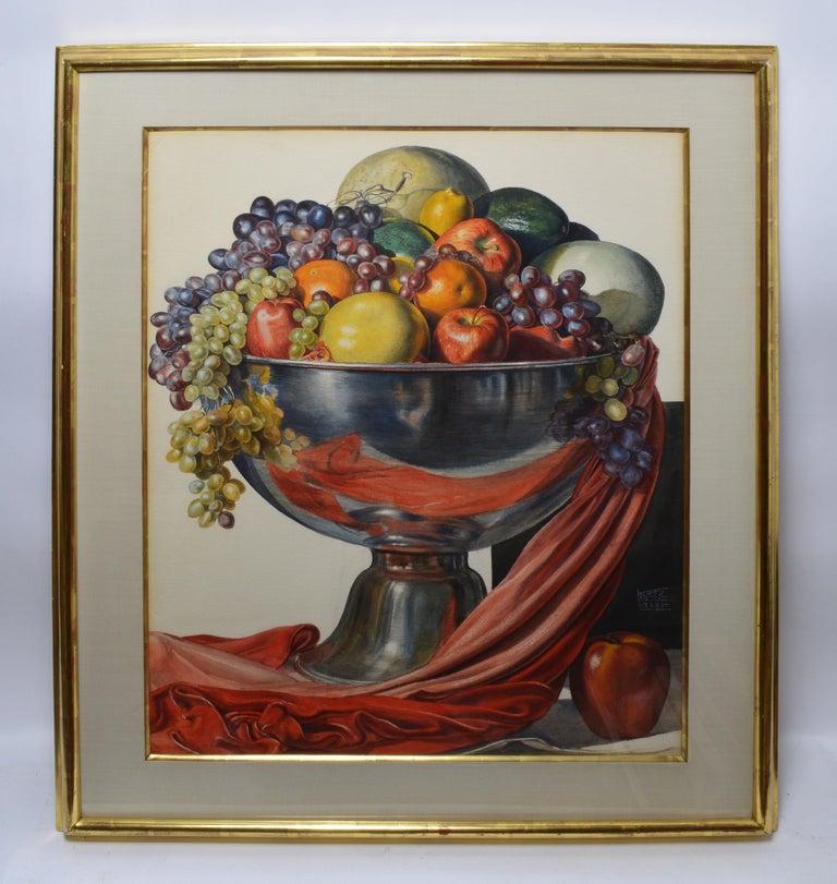 Vintage American Modernist Fruit Still Life Realist Painting by Leo Katz For Sale 1