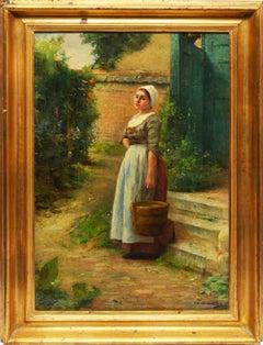 Antique Impressionist Belgian Flower Landscape Oil Painting, Frederic Vermorcken