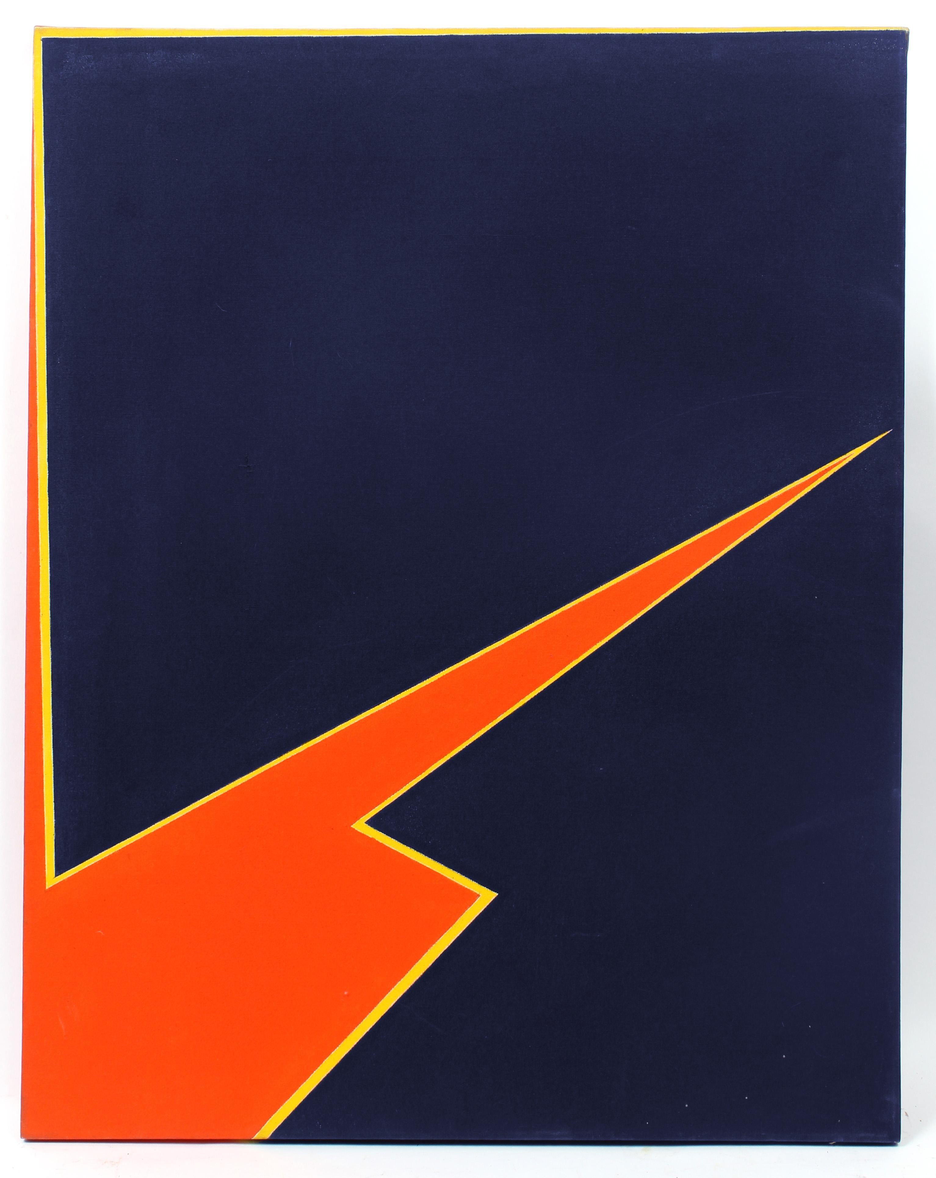 Minimalist Painting New York American Artist Female Blue Orange Yellow 1974
