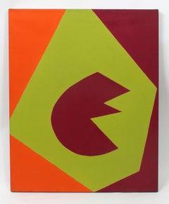 Minimalist Painting New York American Artist Female Maroon Green Orange 1966