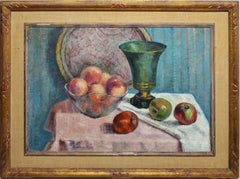 American Impressionist Table Fruit Still Life Signed Oil Painting, Beatrice Rose