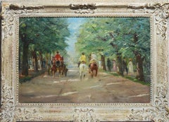 Antique Impressionist Park View Oil Painting With Horses by Franz Marx