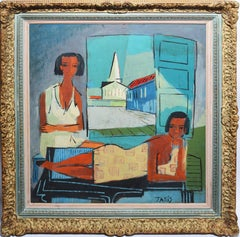 """Vintage Modernist Oil Painting """"Portrait of a Woman in Greece"""" by Nicholas Takis"""