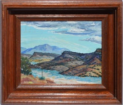Antique Western Taos School Impressionist  Mountain Landscape Oil Painting