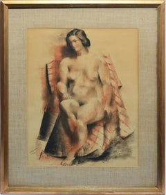 Antique American Modernist Female Nude Painting by Abraham Baylinson