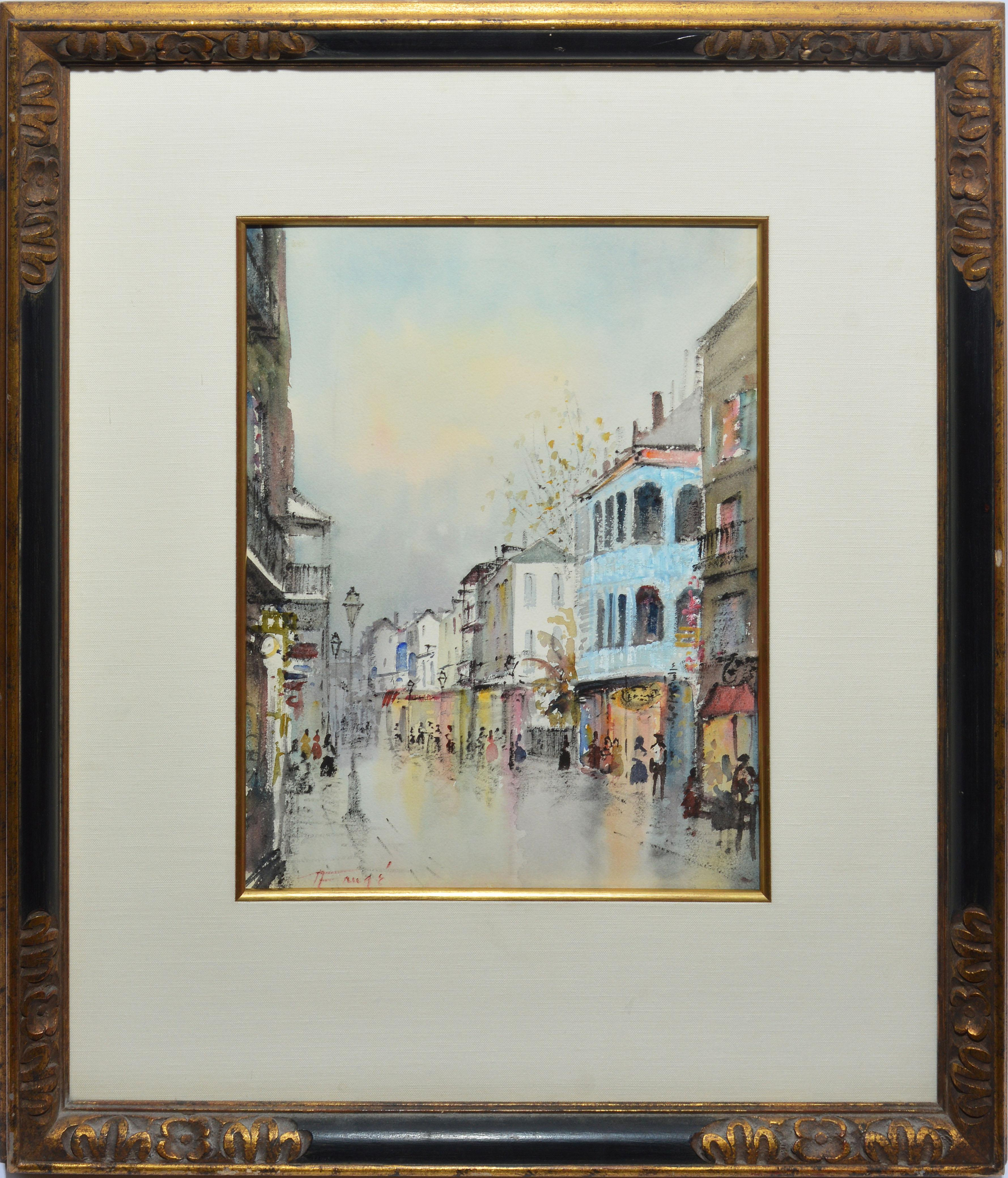 Vintage Nestor Fruge Watercolor Painting New Orleans Louisiana Listed Street Special Buy Antiques