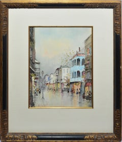 Bustling View of the French Quarter, New Orleans Vintage Painting, Nestor Fruge
