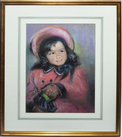 Antique American Pastel Portrait Painting of a Young Girl by Wuanita Smith