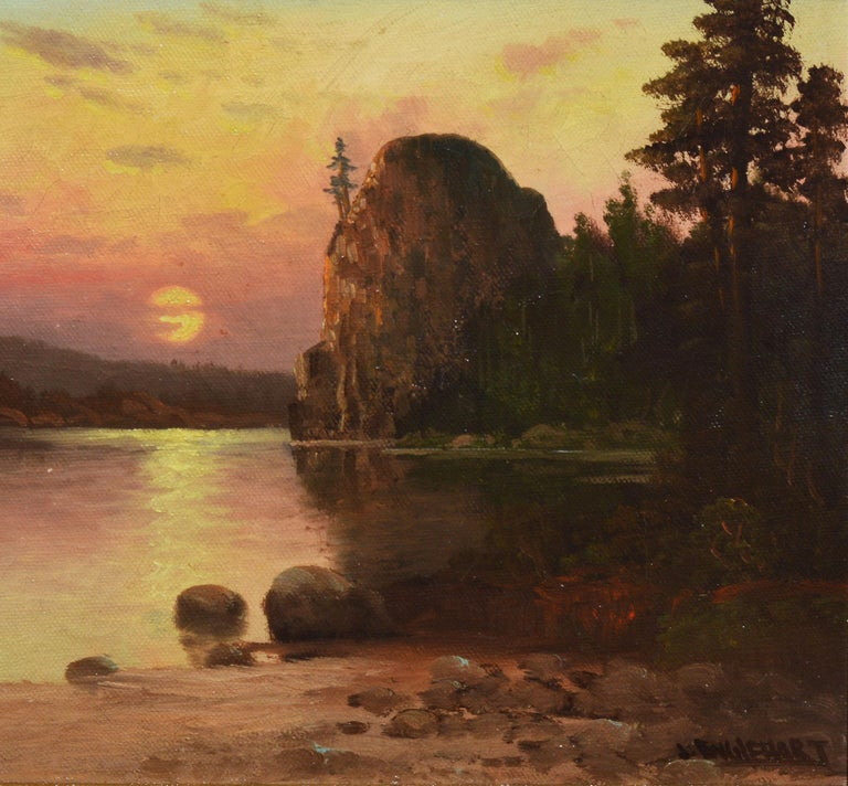 Western American Sunset California River Landscape Oil Painting, John Englehart 4