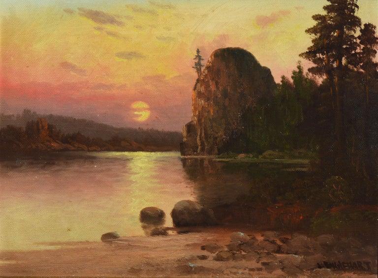 Western American Sunset California River Landscape Oil Painting, John Englehart 3
