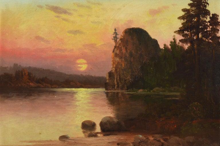 Western American Sunset California River Landscape Oil Painting, John Englehart 5