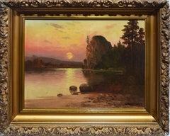 Western American Sunset California River Landscape Oil Painting, John Englehart