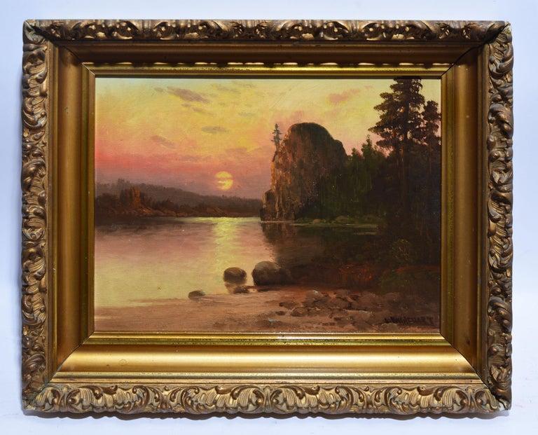 Western American Sunset California River Landscape Oil Painting, John Englehart 2