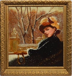 Antique American Impressionist Winter Portrait Painting by Herman Hyneman