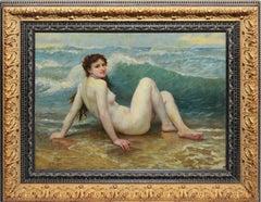 Vintage American Impressionist Nude Woman Beach Oil Painting by N Henry Bingham