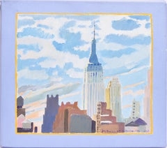 Vintage New York City Empire State Building Oil Painting Study By Ejay Weiss