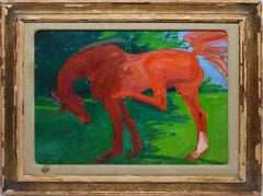 Vintage American Modernist Portrait of a Horse by Western Artist Jon Zahourek