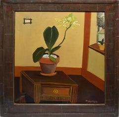 Vintage American Modernist Folk Art Orchid Still Life by Mark Heyer