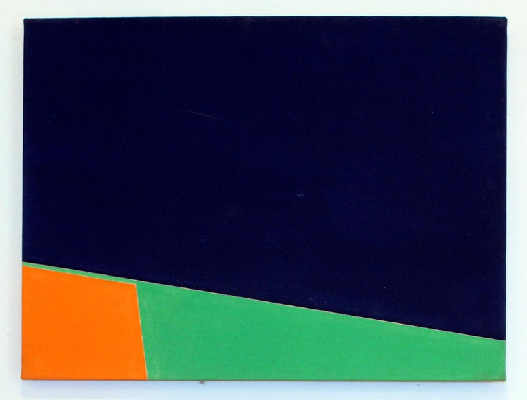 Pair of Minimalist Paintings New York American Artist Green Orange Blue 1966 - White Abstract Painting by Martica Miguens