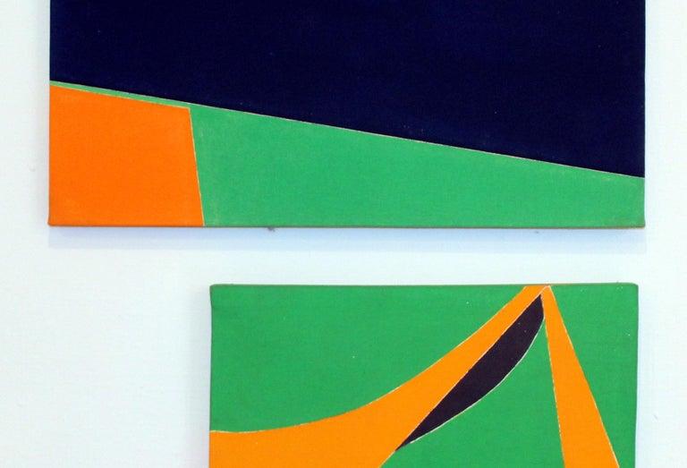 Pair of Minimalist Paintings New York American Artist Green Orange Blue 1966 For Sale 1