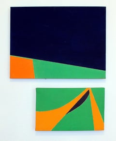 Pair of Minimalist Paintings New York American Artist Green Orange Blue 1966