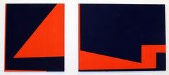 Pair of Minimalist Paintings New York Female American Artist Red Blue 1970's