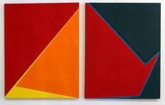 Pair of Minimalist Paintings New York American Grey Blue Artist Red Blue 1970's