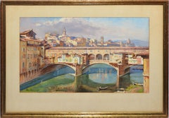 Antique Painting of Florence Italy, View of the Ponte Vecchio Bridge, Max Loose