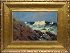 Antique American Impressionist California Coastal Oil Painting by Elmer Grey